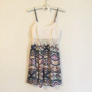 Knit and satin mini dress   love, Fire (size XS)